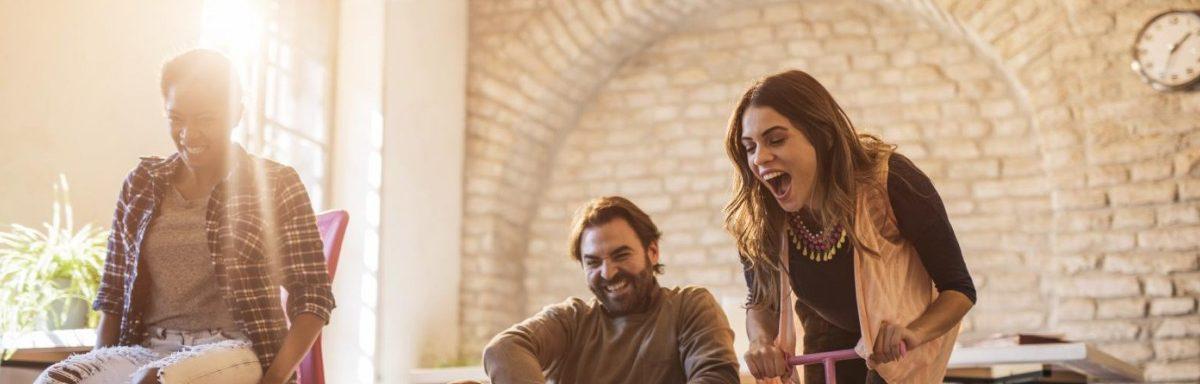 streso valdymo dribtuves, amlaboratory.com, happy people, office, rides, joy